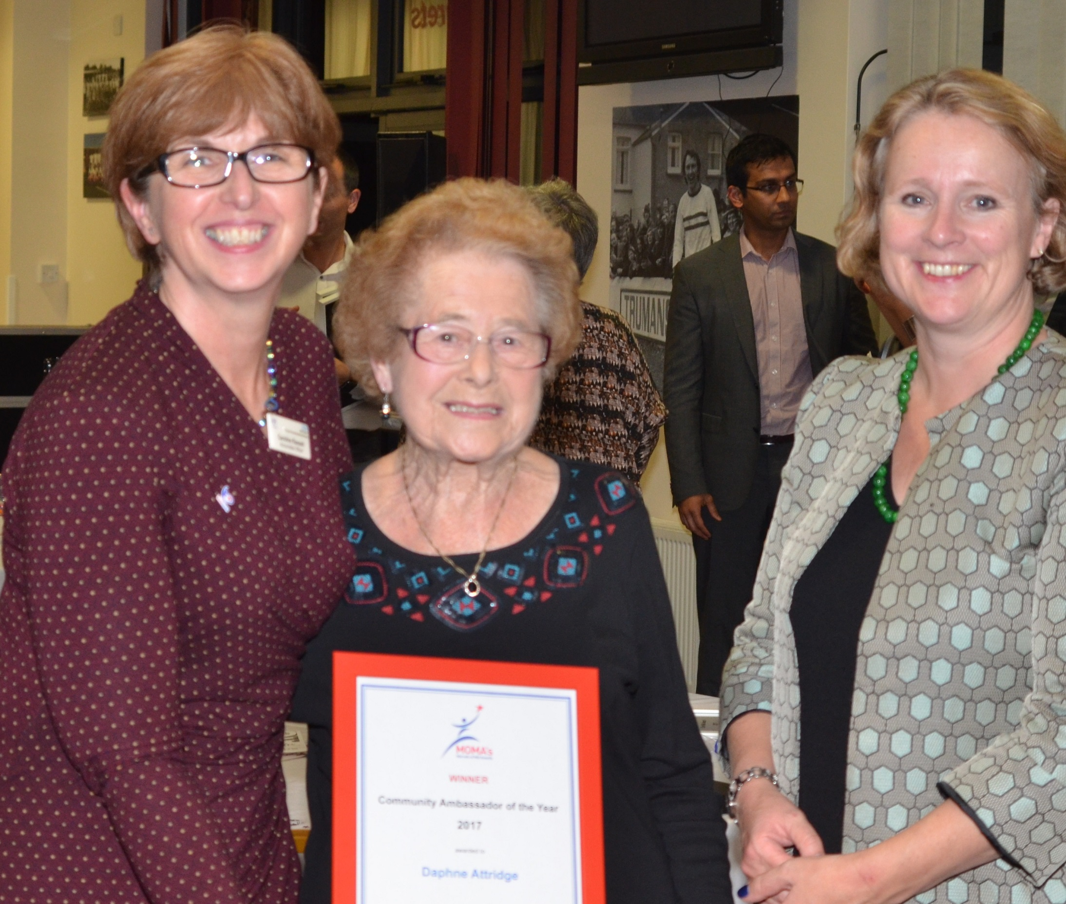 Community Ambassador winner Daphne Attridge with MECCG AO Caroline Rassell and Chelmsford MP Vicky Ford